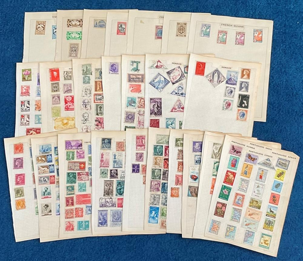 European stamp collection over 25 loose pages. Includes Netherlands, Yugoslavia, Poland, Luxembourg,