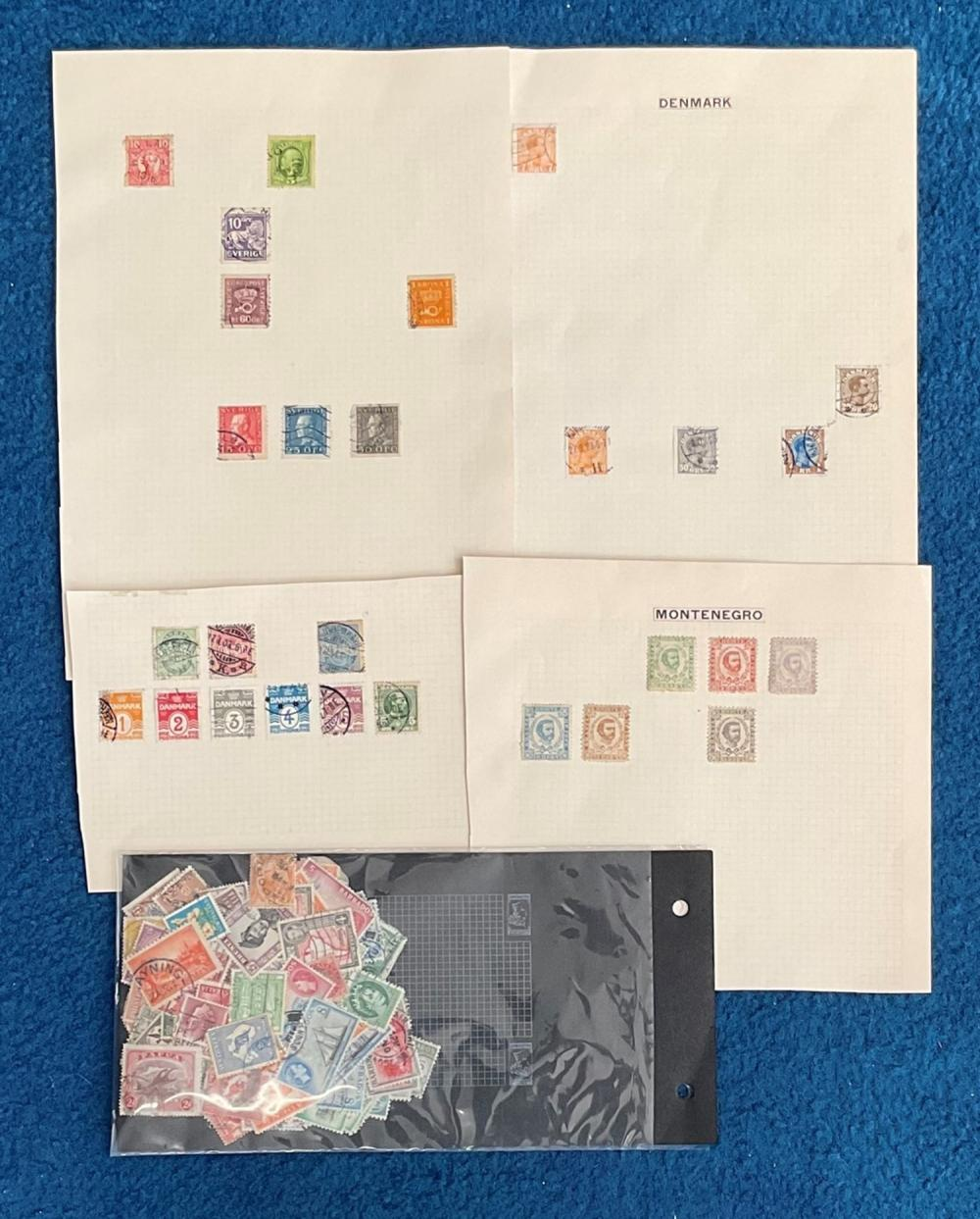Assorted stamp collection on loose album pages. Includes Sweden, Denmark, Montenegro and more.
