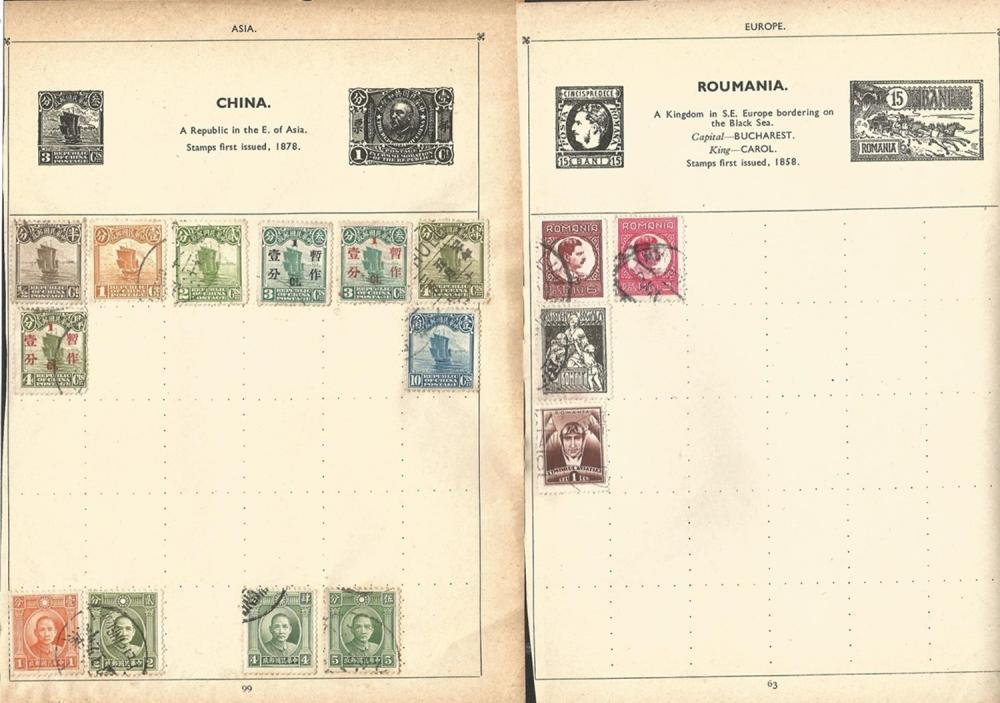 International stamps including Hungary, China, USA, Egypt, Japan, stamps on loose album pages,