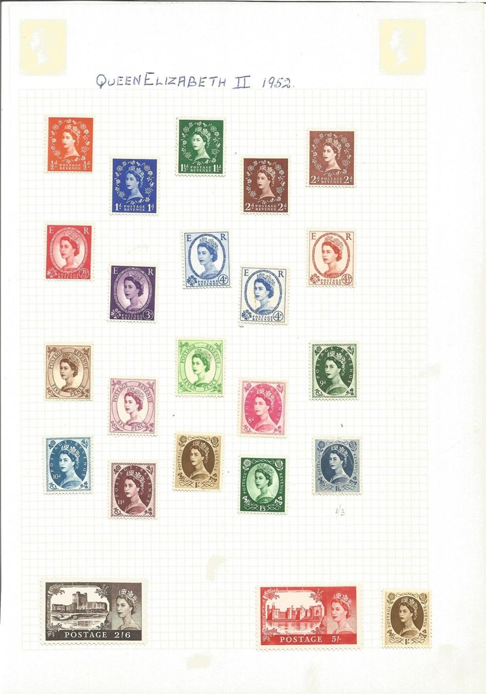 Great Britain stamps including Queen Elizabeth II 1952, loose stamps on sheets, approx. 50. Good