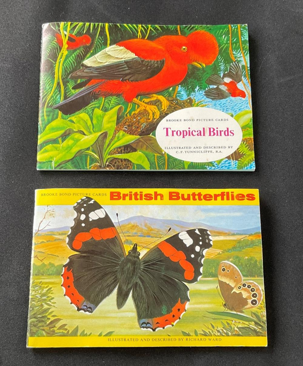 2 Albums of Brooke Bond Picture Cards, Tropical Birds, British Butterflies. Good condition. We