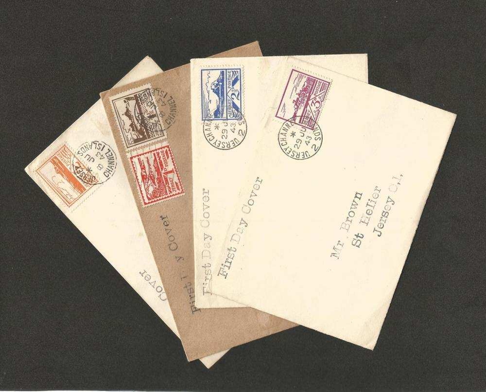 Jersey, 4 First Day Covers, 1943. Good condition. We combine postage on multiple winning lots and
