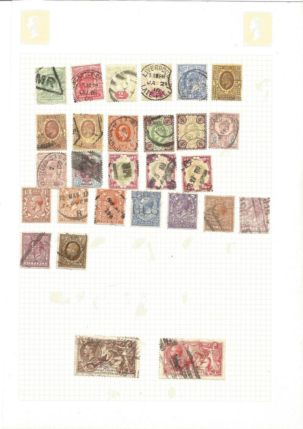 Great Britain, King Edward VII and George V, stamps on loose sheet, approx. 25. Good condition. We