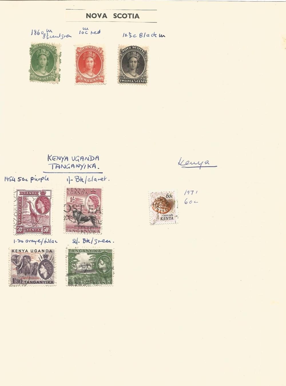Nova Scotia, Kenya Uganda Tanganyika, Kenya, stamps on loose sheet, approx. 8. Good condition. We