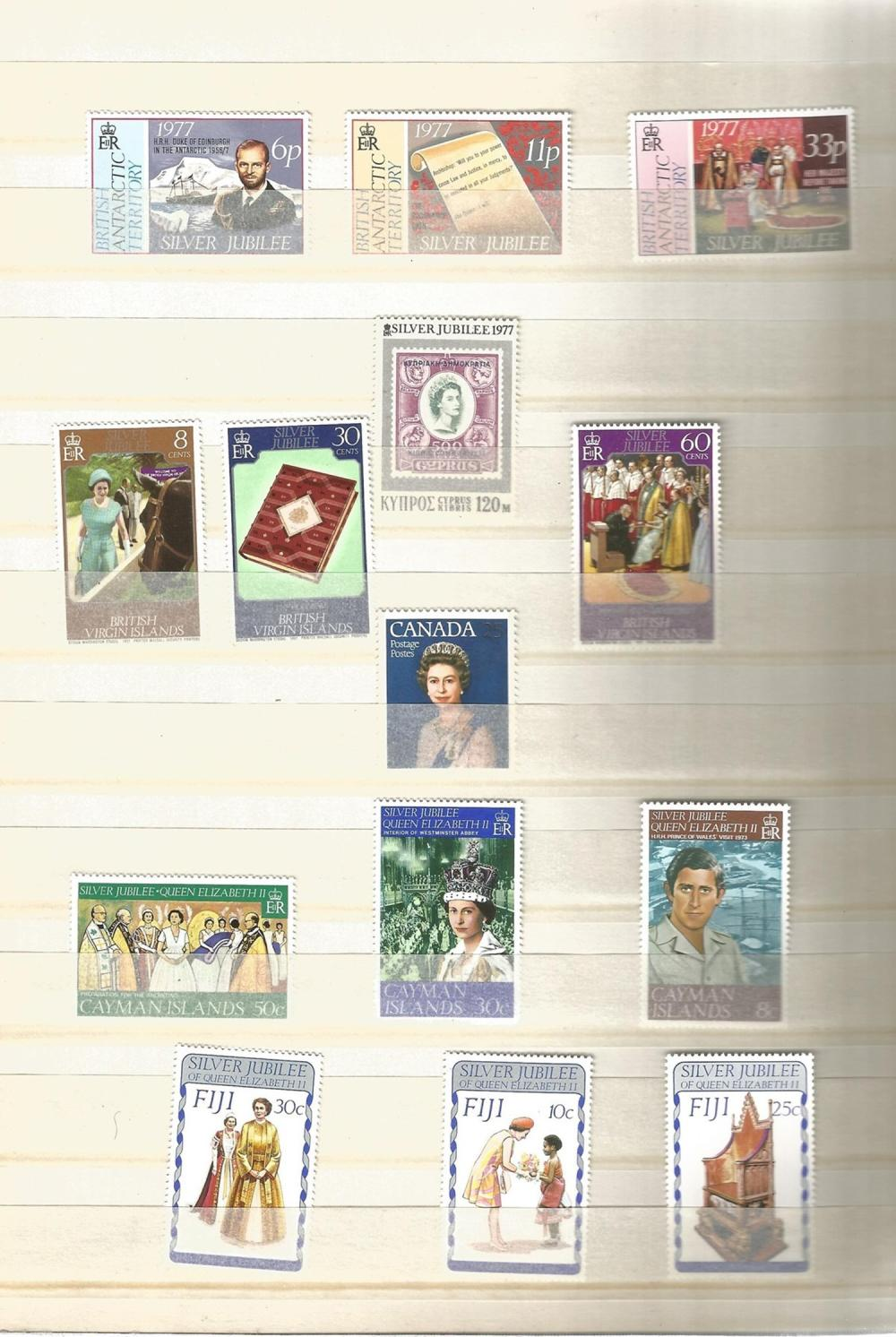 8 Page Stamp Stock book, British Antarctic Territory, Cyprus, Gilbert Island, Seychelles, Solomon