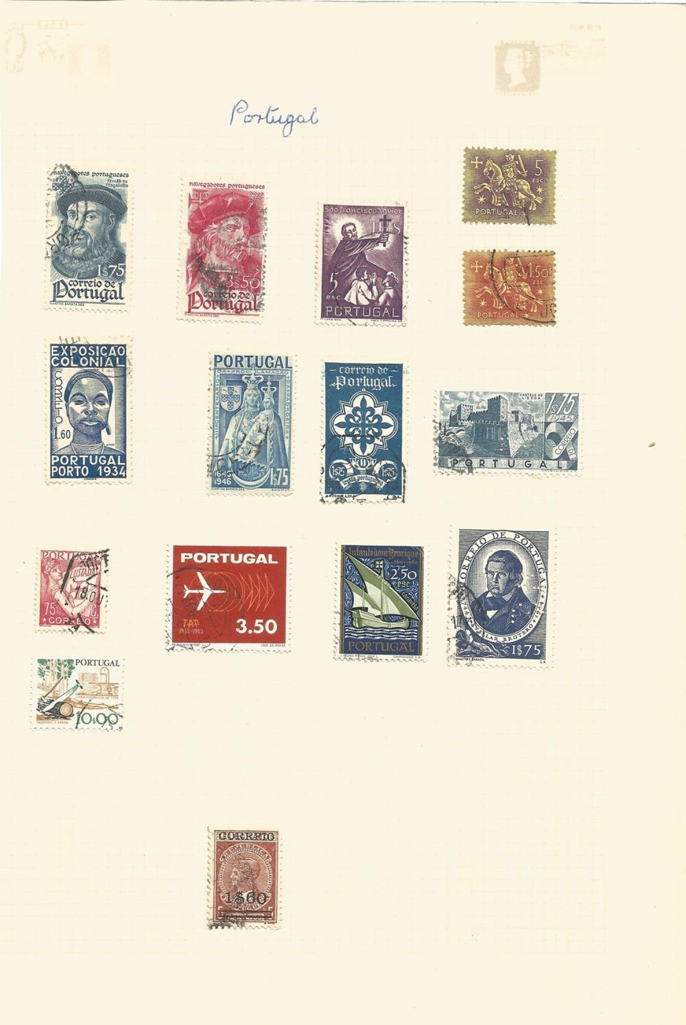 Portugal, Greece, Monaco, Norway, stamps on loose sheets, approx. 60. Good condition. We combine