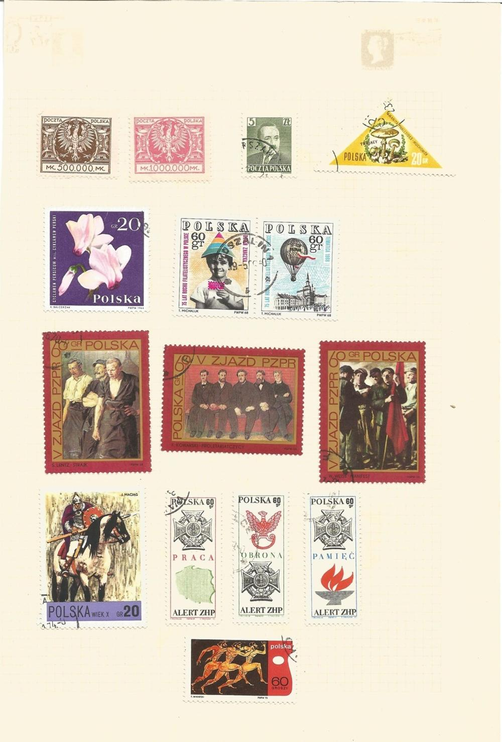 Bulgaria, Yugoslavia, Poland, stamps on loose sheets, approx. 40. Good condition. We combine postage