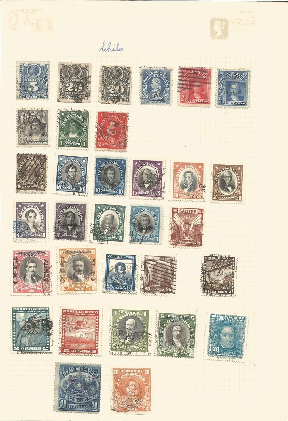 Peru, Brazil, Bolivia, Cuba, Colombia, Chile, stamps on loose sheets, approx. 70. Good condition. We