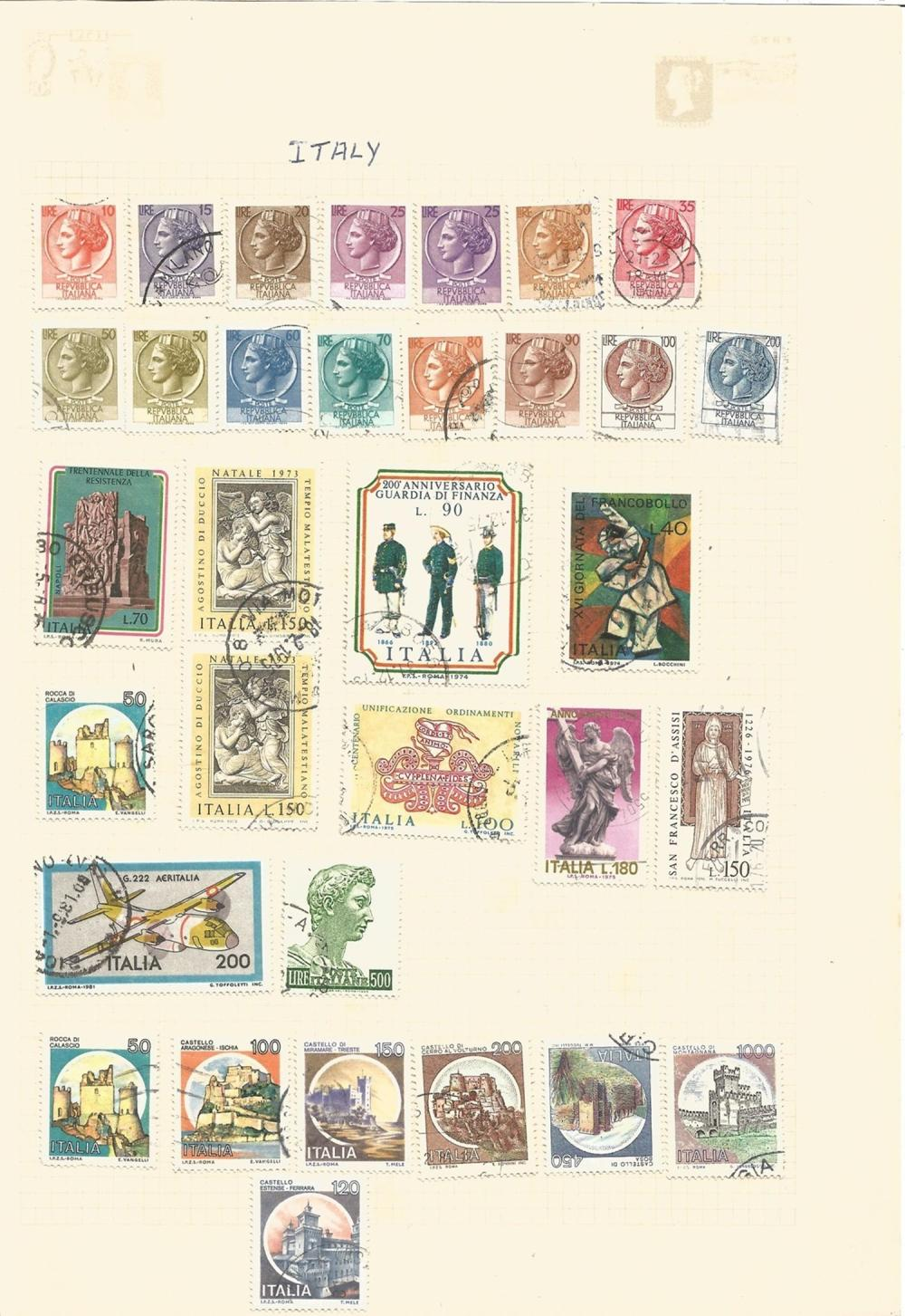 Italy, Romania, Venezuela, stamps on loose sheets, approx. 70. Good condition. We combine postage on