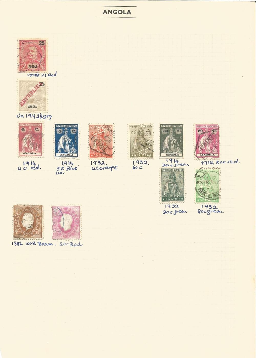 Angola, Cape Verde Islands, Azores, stamps on loose sheets, approx. 15. Good condition. We combine