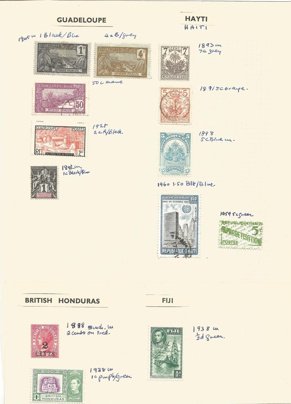 Guadeloupe, Haiti, British Honduras, Fiji, Cayman Islands, stamps on loose sheets, approx. 15.