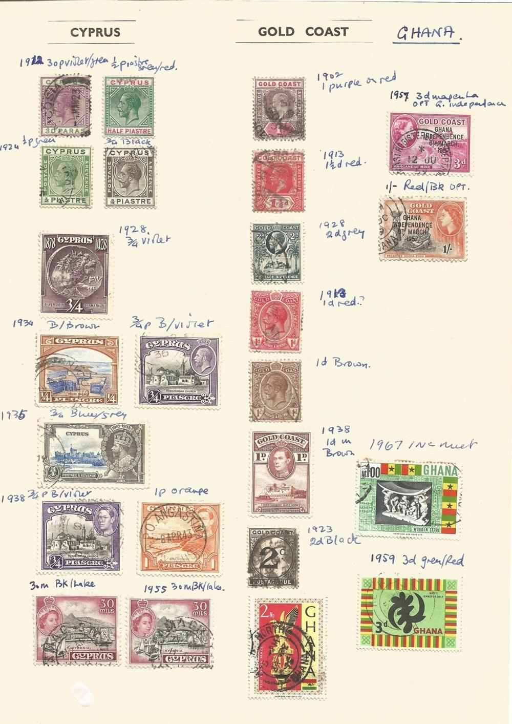 Orange Free State, Queensland, Gold Coast, Cyprus, stamps on loose sheets, approx. 50. Good