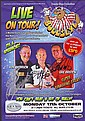 John Lowe, Bob Anderson & Eric Bristow signed Bullseye Live on tour Darts Promo leaflet mounted to 12 x 8 black card