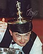 John Parrott signed 10 x 8 colour snooker photo, amusing image wearing the top of the World Trophy as a hat
