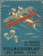 1950 The meeting in Paris Villacoublay Airplanes Paratroopers Sticker 6 x 4 size. Good Condition.
