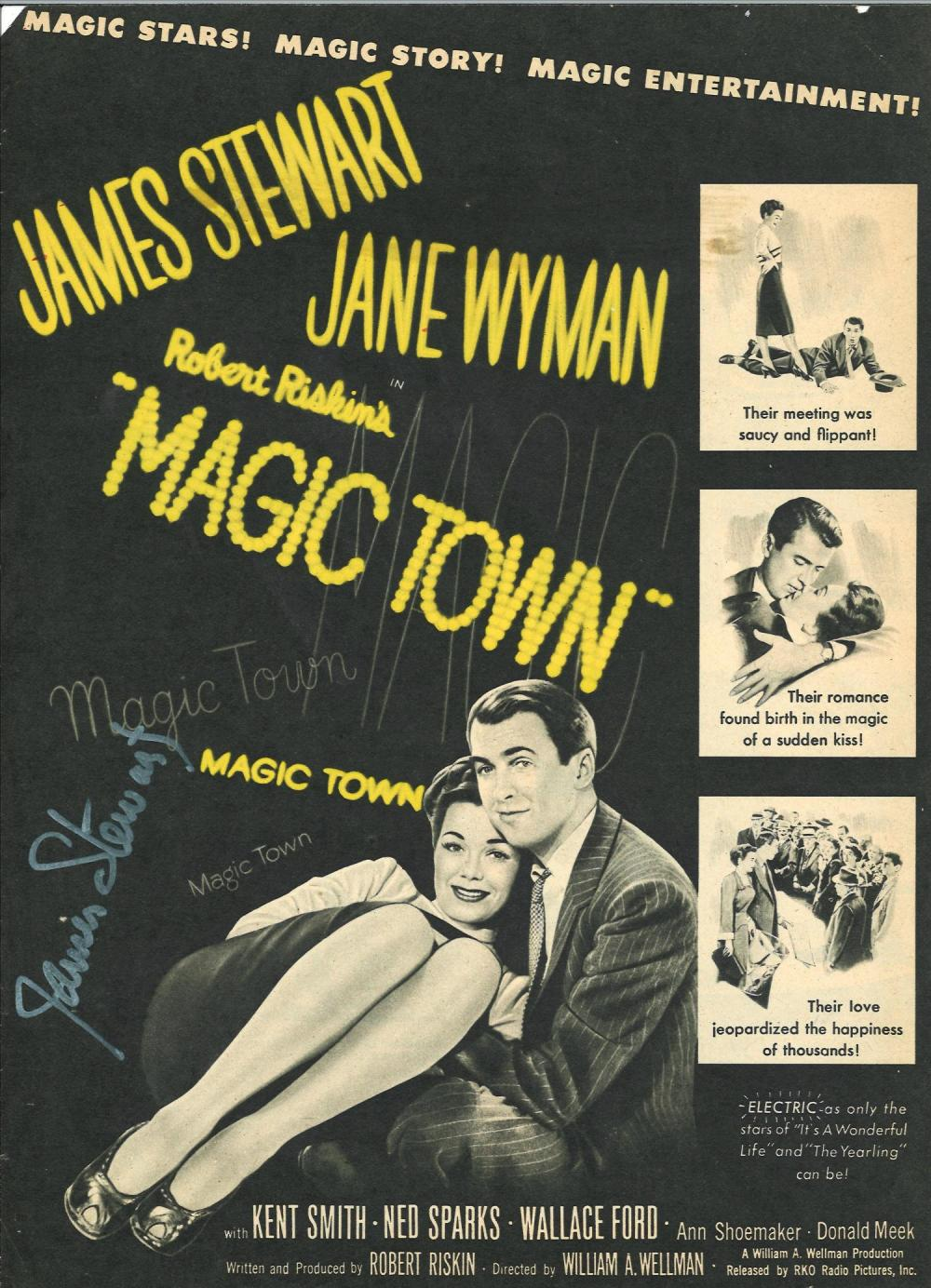 James Stewart signed front page of movie booklet for Magic T