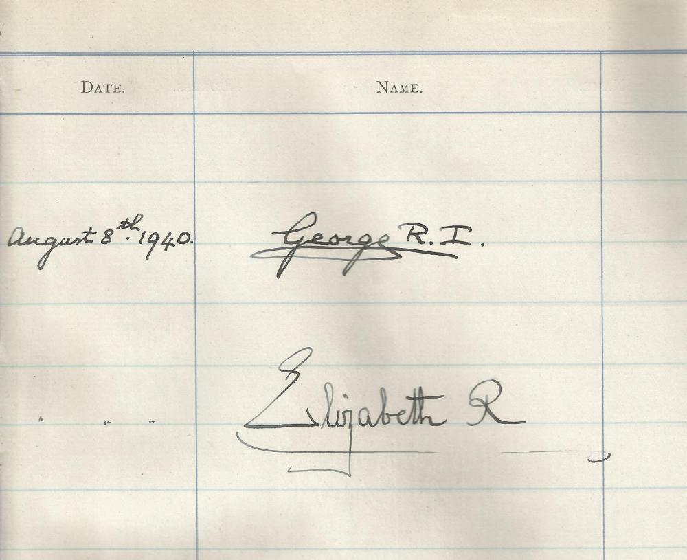 George VI and Elizabeth the Queen Mother autographs dated August 8th, 1940, taken from a visitors