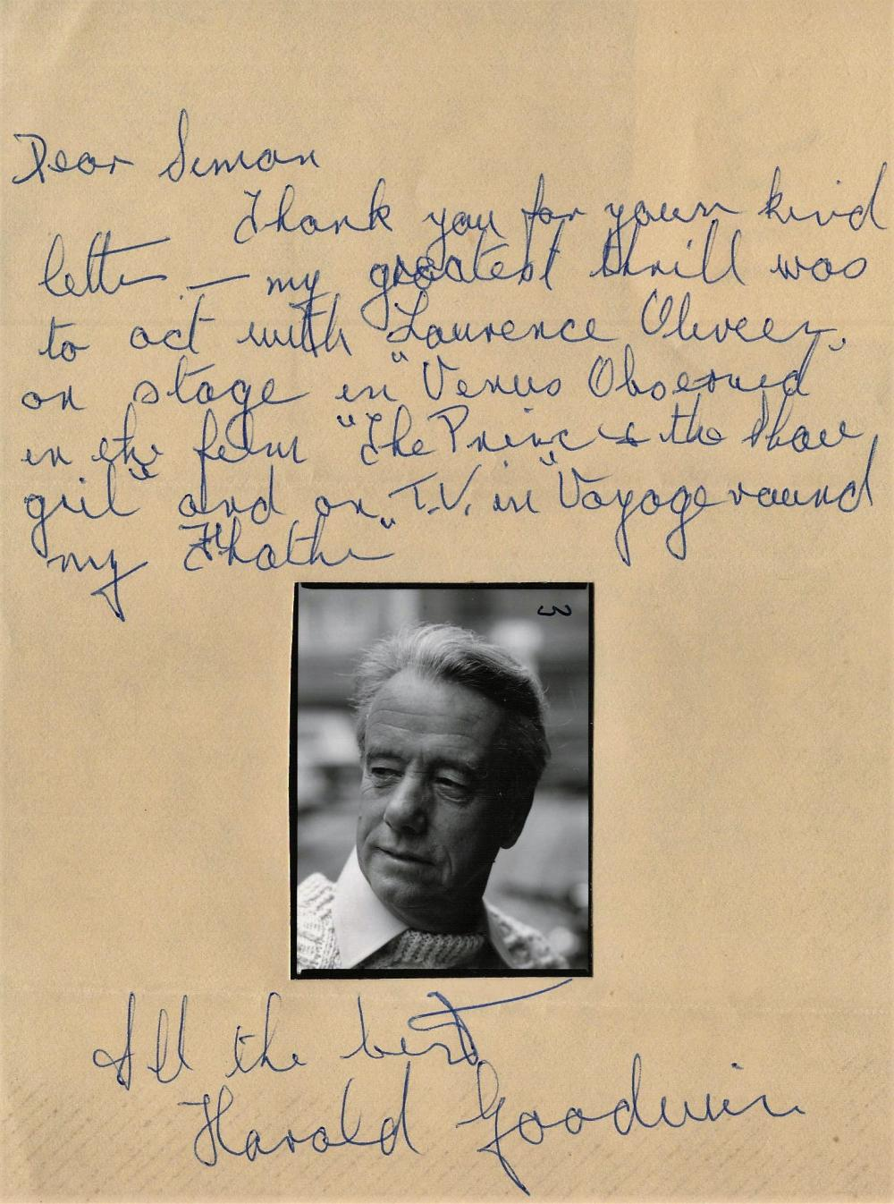 Harold Goodwin, a signed letter with small unsigned photo attached. Good content. Actor who appeared