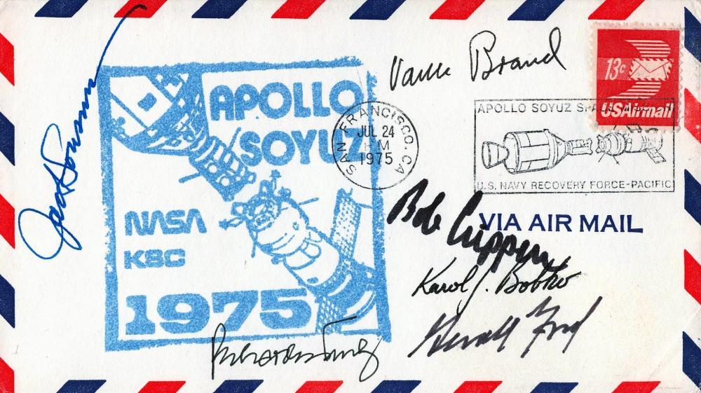 Space Apollo Soyuz Nasa 1975 multi signed FDC via air mail 6 fantastic signatures include Gerald