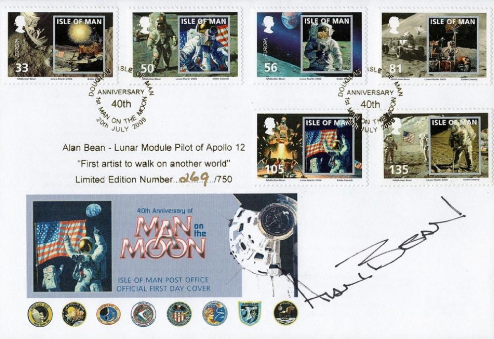 Alan Bean signed 40th Anniversary Man On the Moon FDC Limited Edition 269/750 Double PM 20th July