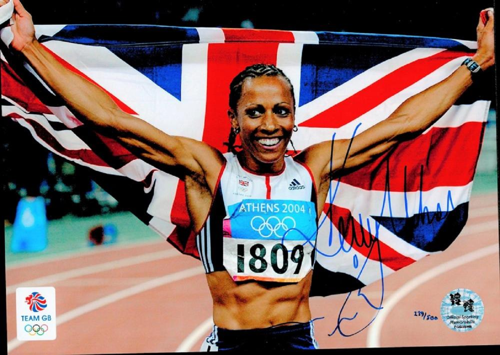 Dame Kelly Holmes signed 10x8 inch Olympics colour photo. Dame Kelly Holmes DBE OLY born 19 April
