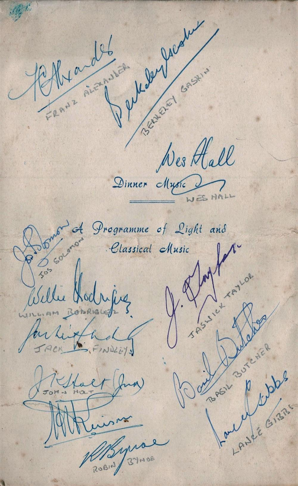 Cricket West Indies Tour 1958 multi signed Farewell Dinner Menu 12 fantastic signatures includes Wes