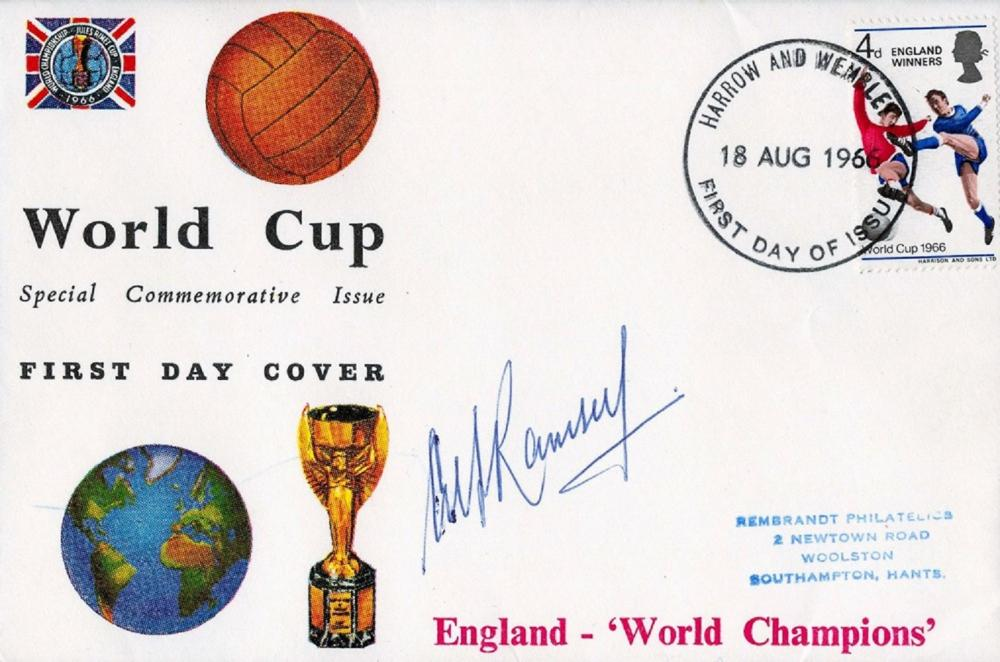 Alf Ramsey Signed World Cup Special Commemorative Issue FDC PM Harrow And Wembley 18th Aug 1966.