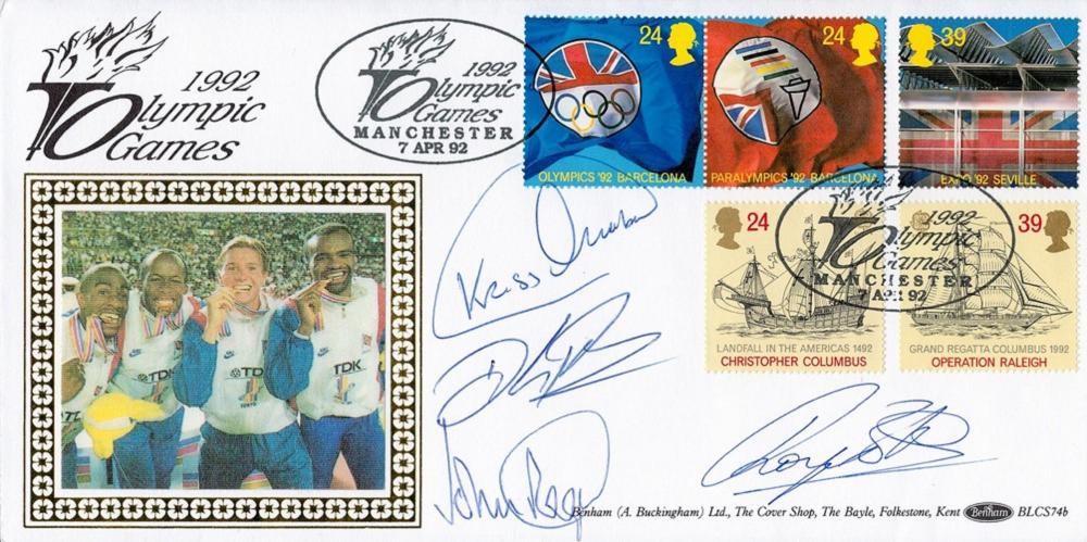 Athletics 1992 Olympic Games multi signed Commemorative FDC signatures include relay heroes Kriss