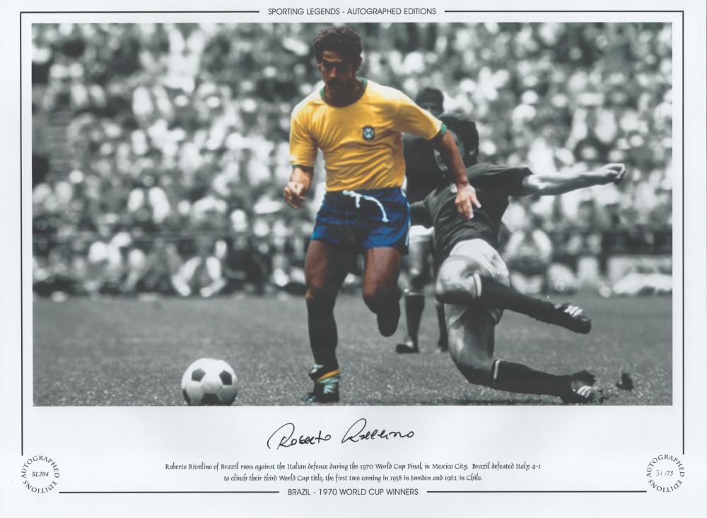 Roberto Rivelino 16x12 inch handsigned colour, Black and white photo, Autographed Editions,