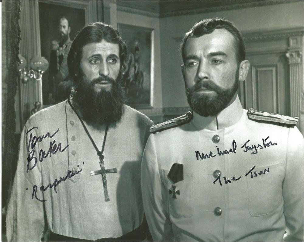 Tom Baker and Michael Jayston hand signed 10x8 photo. This beautiful hand-signed photo depicts Tom