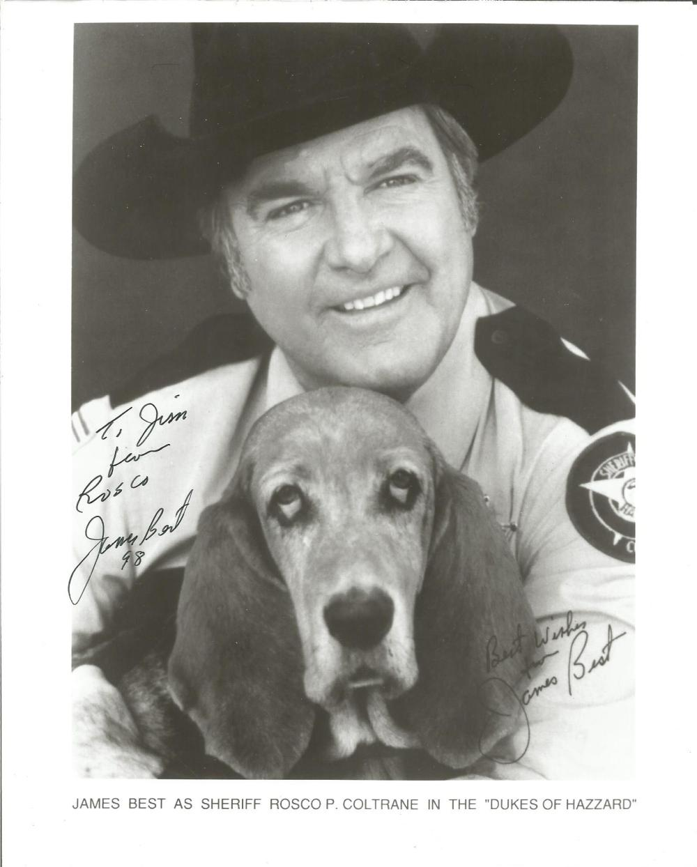James Best signed 10x8 b/w photo from Dukes of Hazard photo. (July 26, 1926 - April 6, 2015), was an