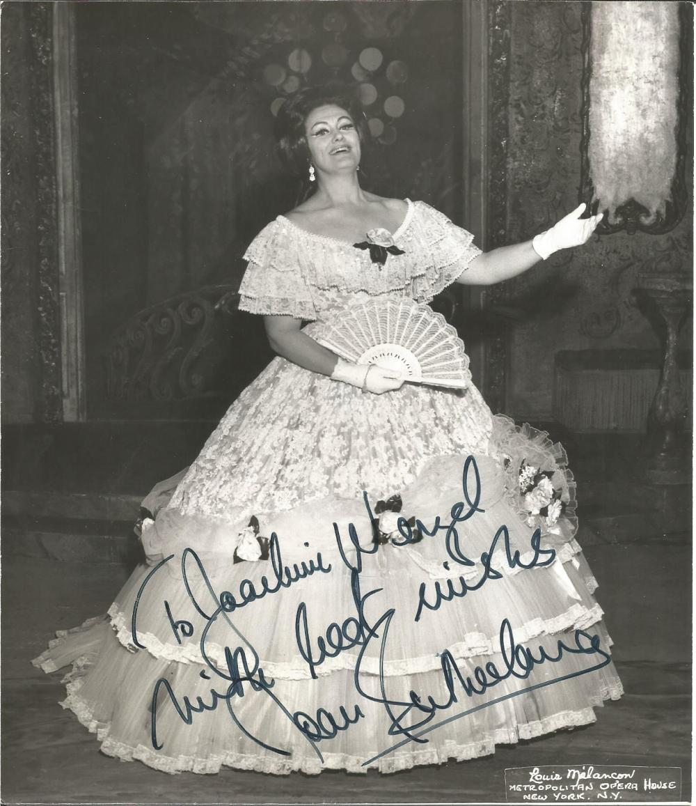 Joan Sutherland signed 10x8 b/w photo. (7 November 1926 - 10 October 2010) was an Australian-born