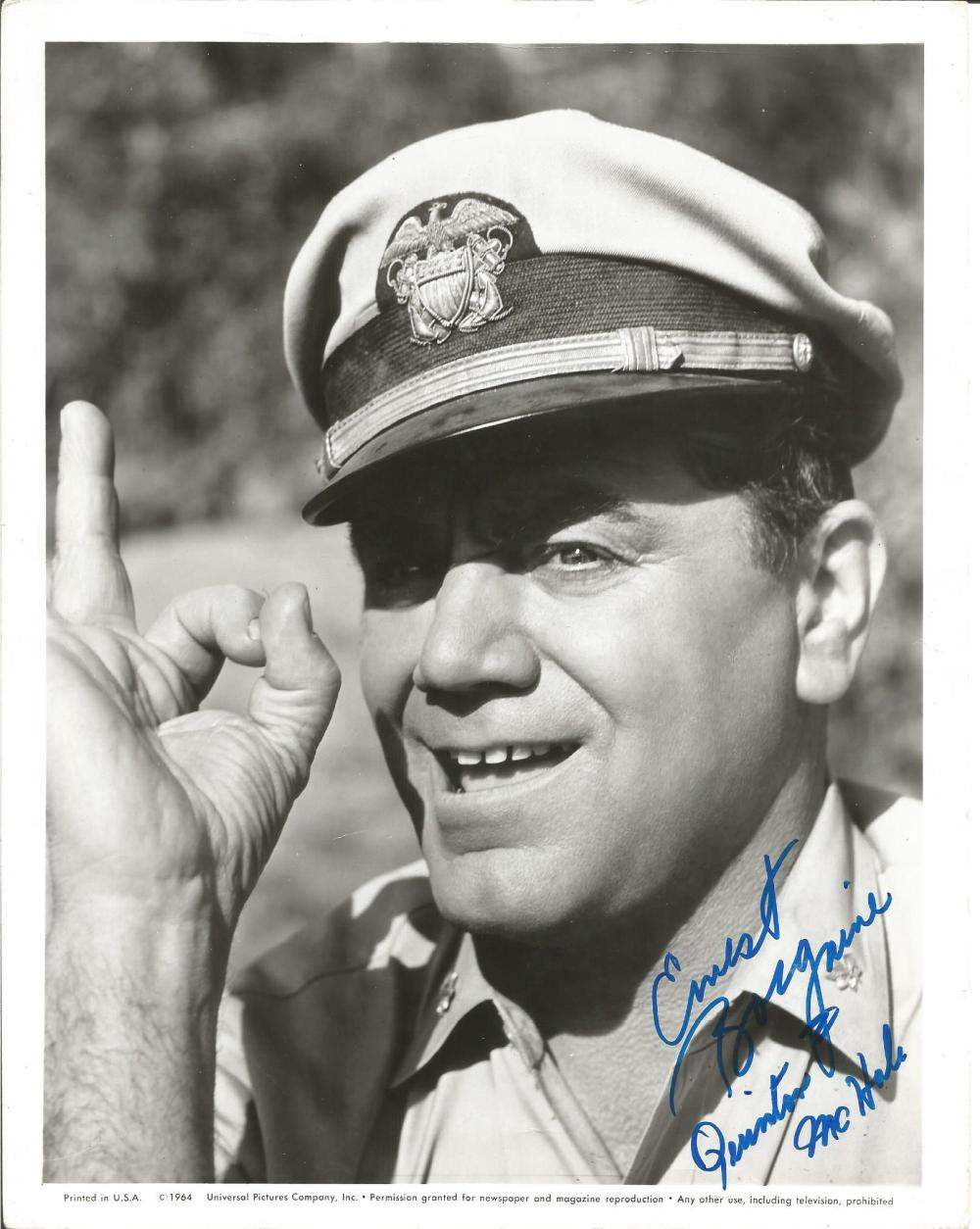 Ernest Borgnine signed 10x8 b/w photo. January 24, 1917 - July 8, 2012) was an American actor