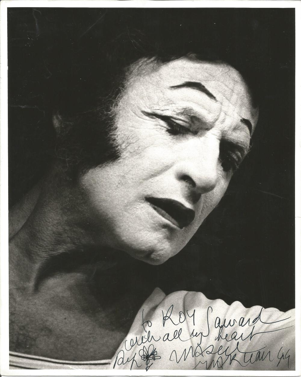 Marcel Marceau signed 10x8 b/w photo. 22 March 1923 - 22 September 2007) was a French actor and mime