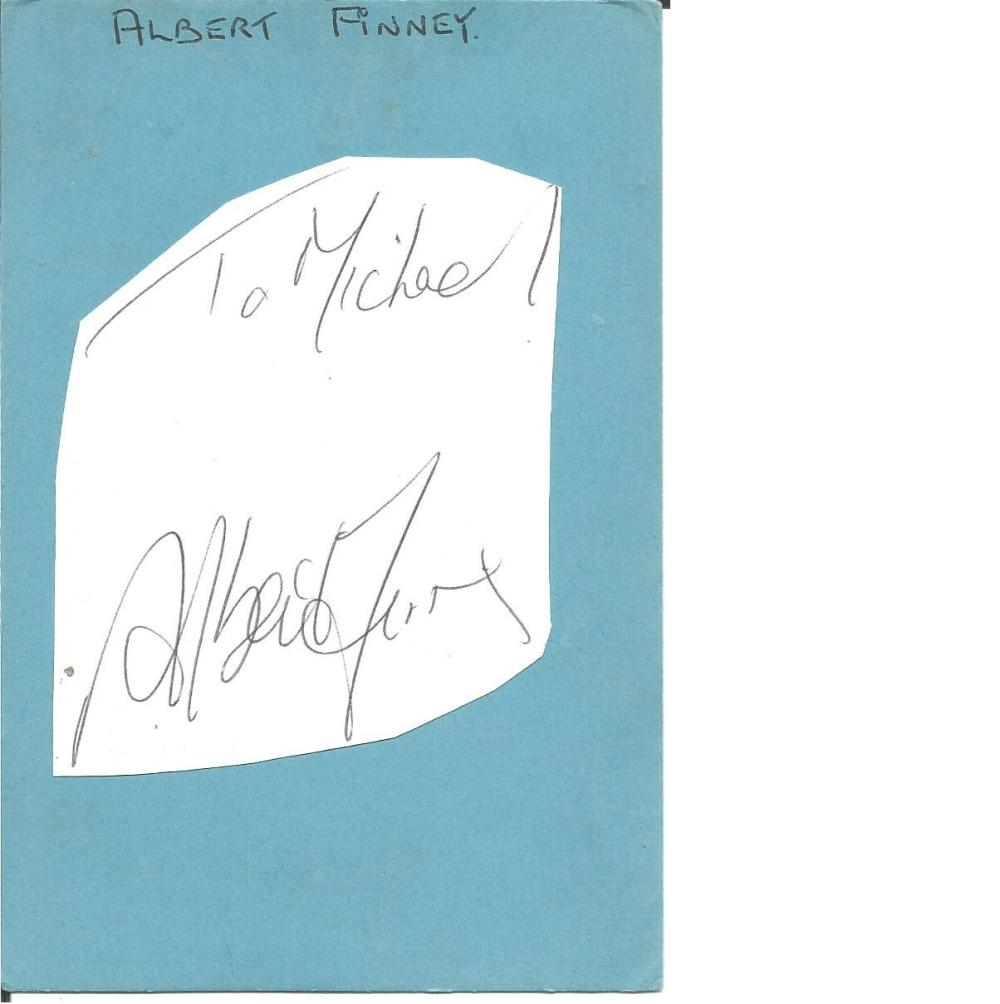 Albert Finney signature piece attached to 6x4 blue card. (9 May 1936 - 7 February 2019) was an