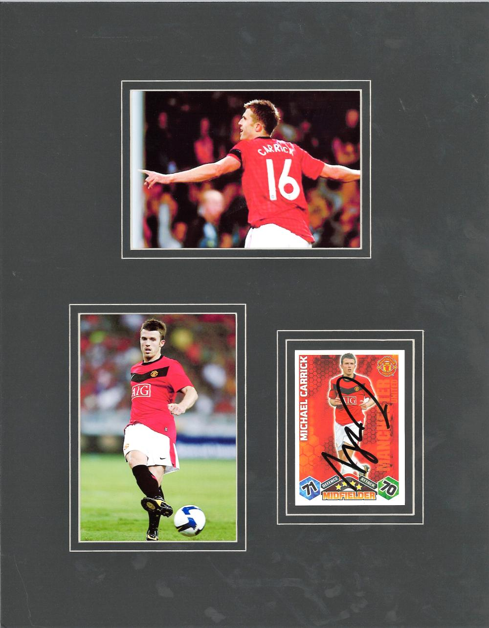 Michael Carrick signed trading card. Mounted with 2 other colour Man Utd photos. Approx overall size