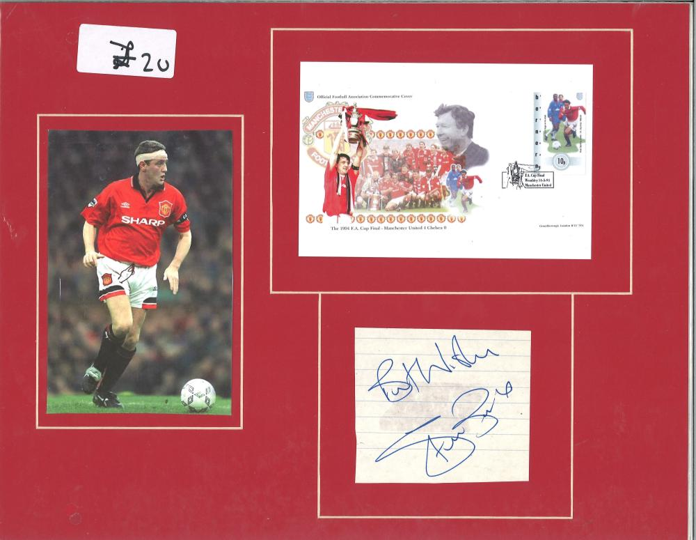 Steve Bruce signature piece mounted below FDC and alongside colour photo. Approx overall size 16x12.