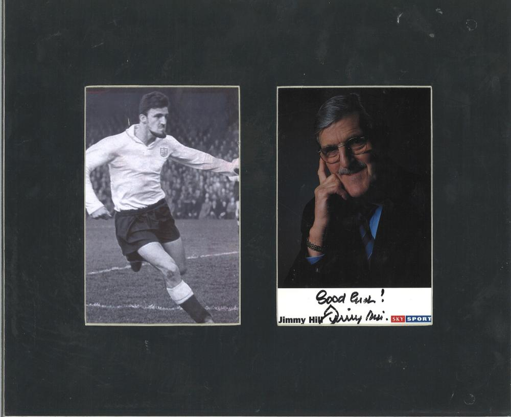 Jimmy Hill signed small Sky sports promo photo. Mounted alongside b/w photo of him in his playing