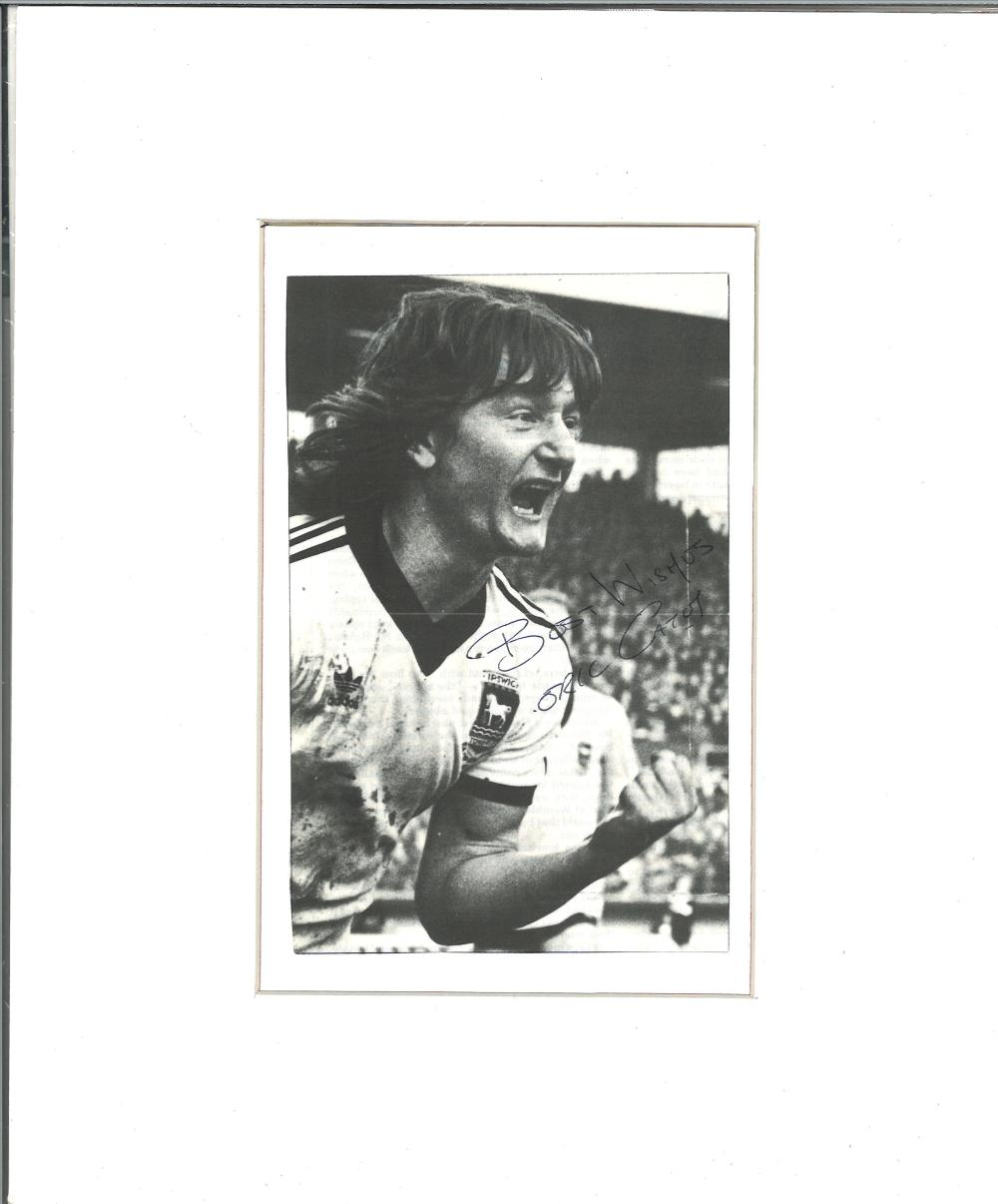 Eric Gates signed b/w photo. Mounted to approx size 12x10. English former football player born on 28