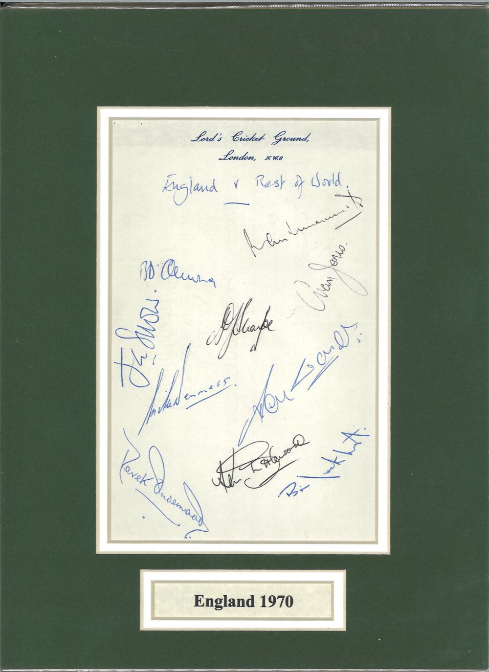 England 1970 cricket signed by 10. Amongst the signtures are B.L. D'Oliveira, Shuttleworth, Clark,