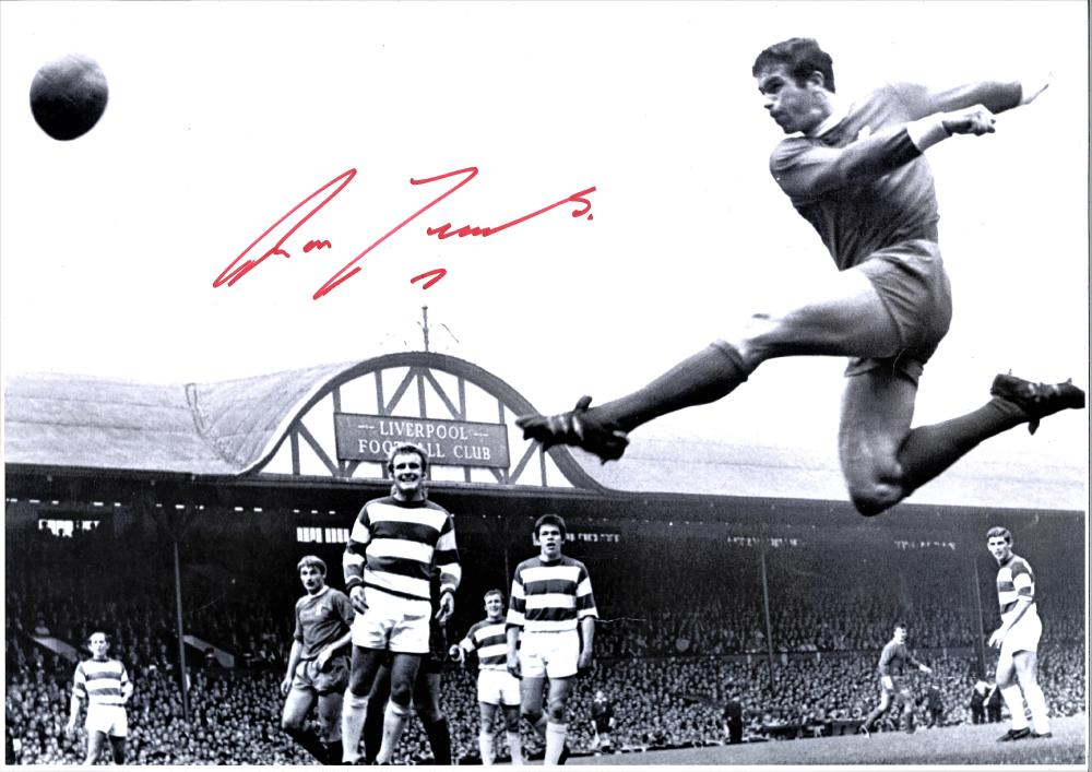 Ron Yates signed 16x12 b/w photo. Scottish former association footballer. He was a key defender in