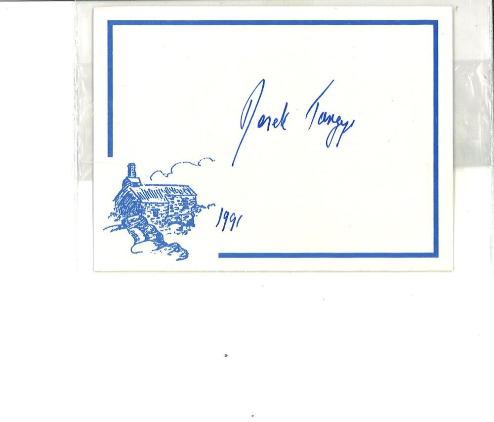 Capt Derek Tangye signed card inside his book The World of Minack hardback book. He was the press