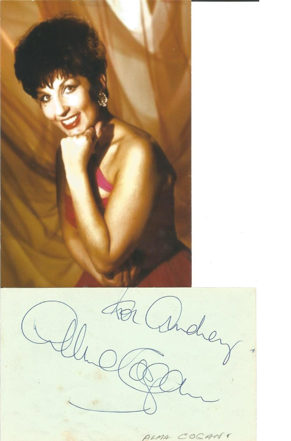 Alma Cogan signed album page with unsigned colour photo. Comes with biography information. Good