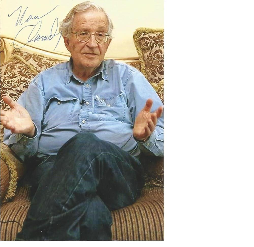 Noam Chomsky the father of modern linguistics signed 6 x 4 colour photo, seated. Comes with