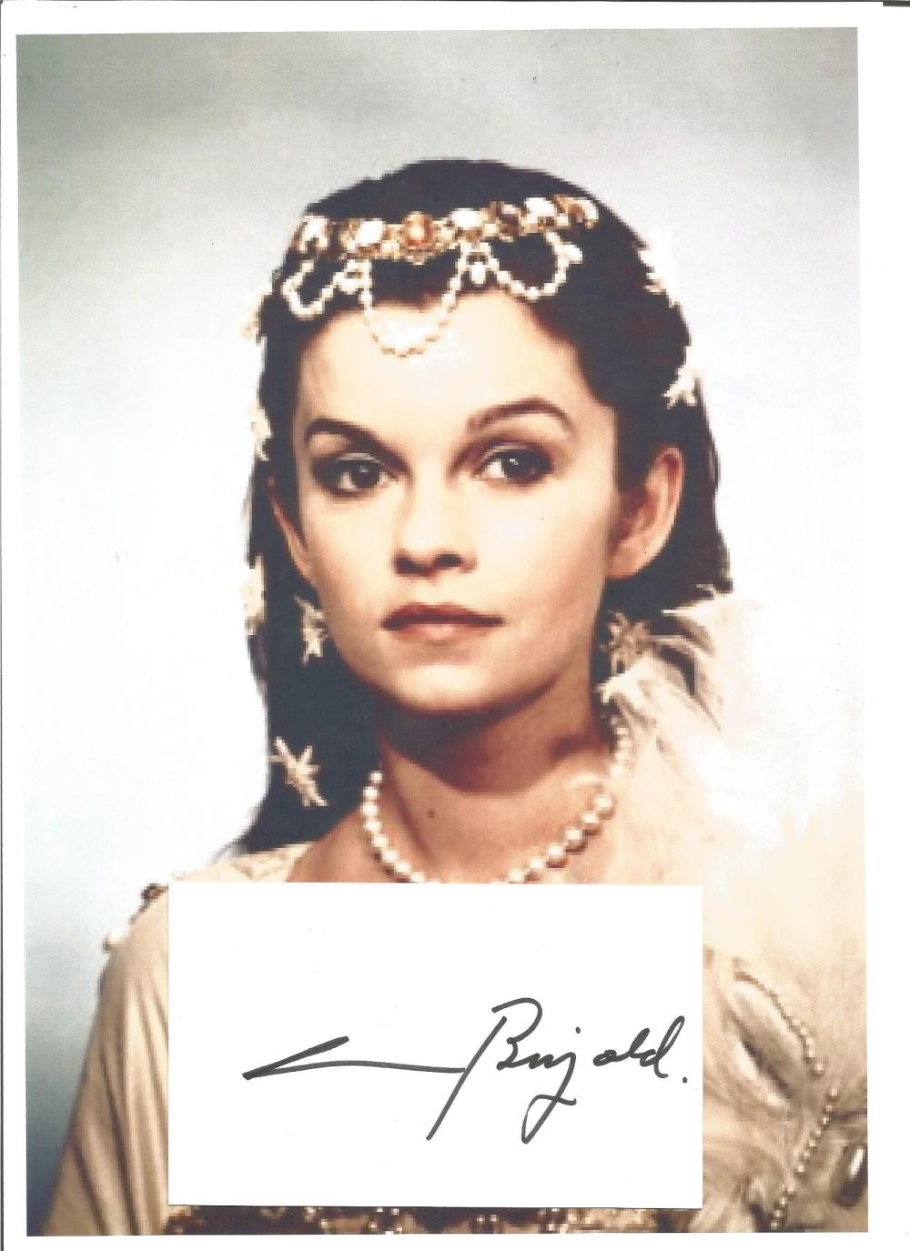Genevieve Bujold signed card with 12 x 8 unsigned colour photo. Comes with biography information.