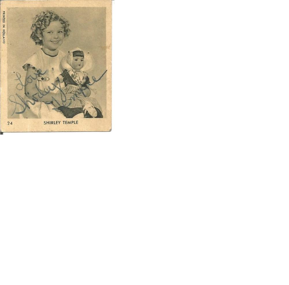 Shirley Temple signed small 2 x 2 b/w photo of a young Temple. Comes with biography information.