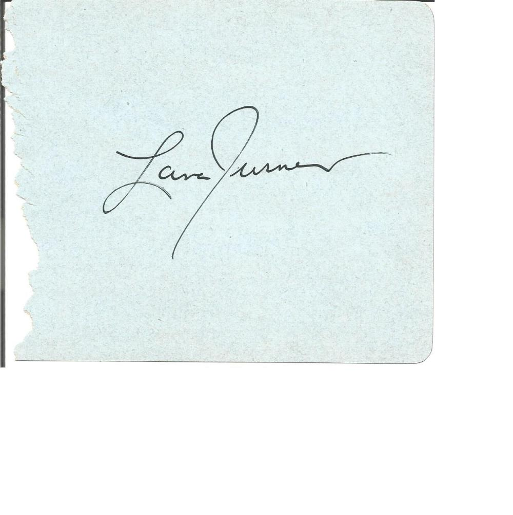 Lana Turner large autograph album page was an American actress who worked in film, television,