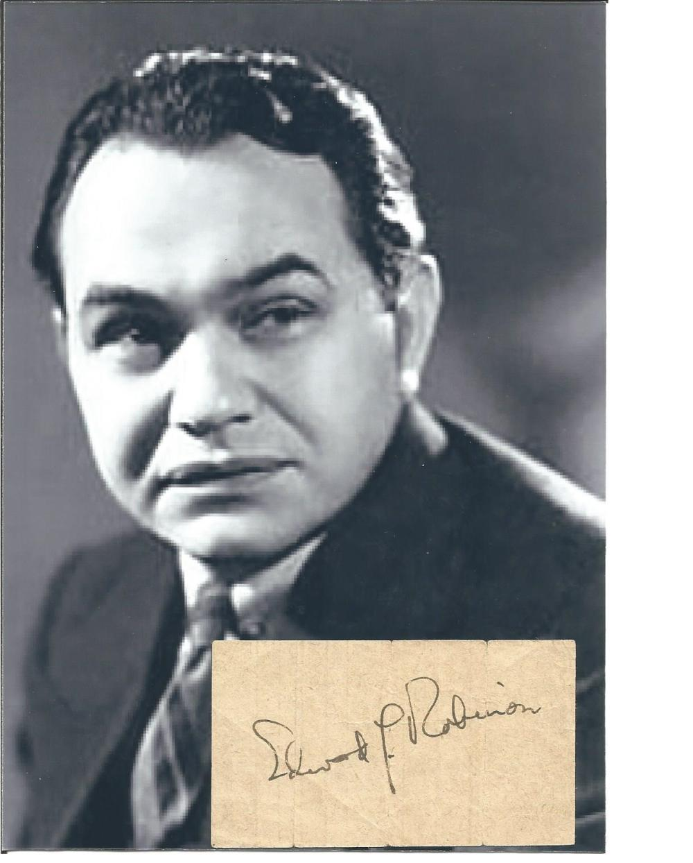 Edward G Robinson small autograph piece with 7 x 5 b/w unsigned photo. Comes with biography
