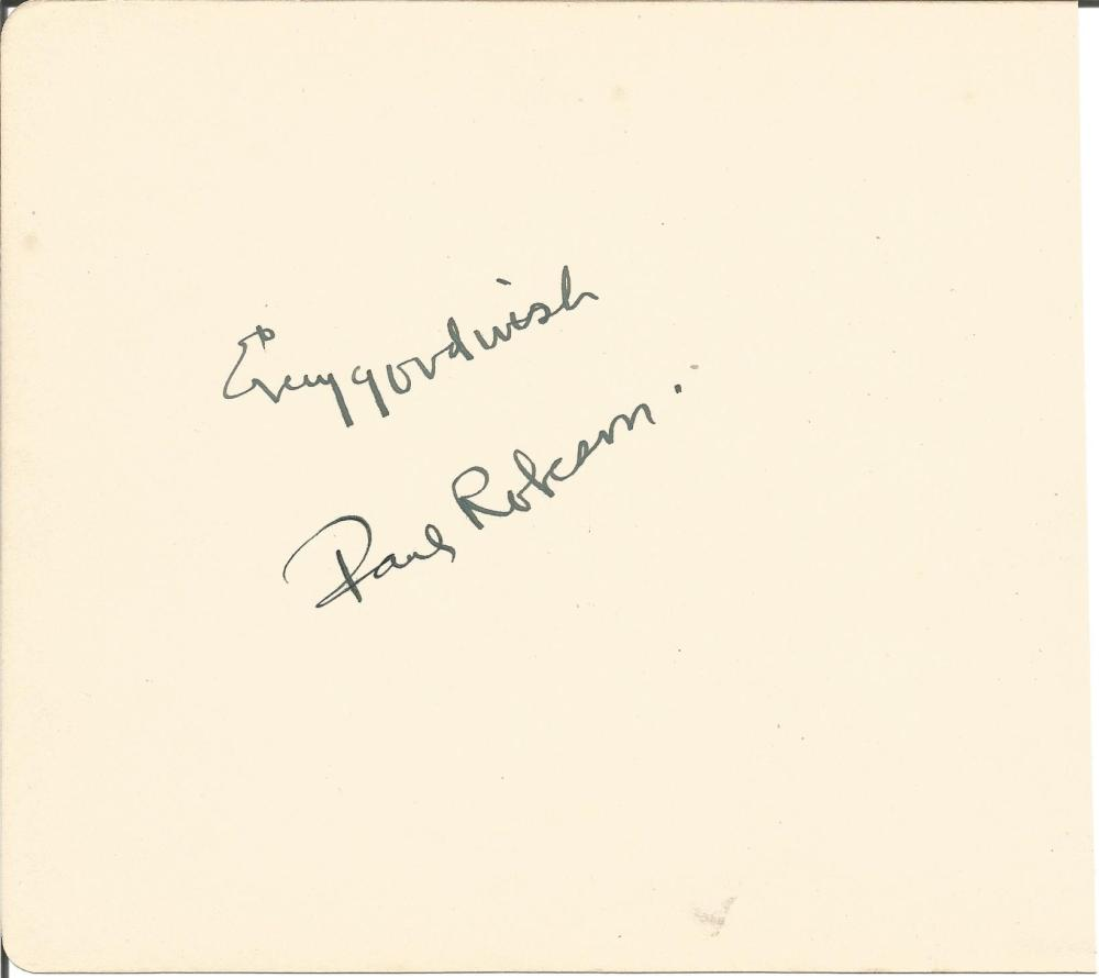 Paul Robeson large autograph album page. Comes with biography information. Good Condition. All