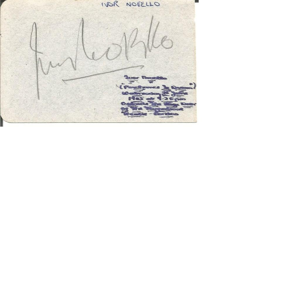 Ivor Novello signed small album page with Sam Camber on back. Comes with Adelphi Theatre programme